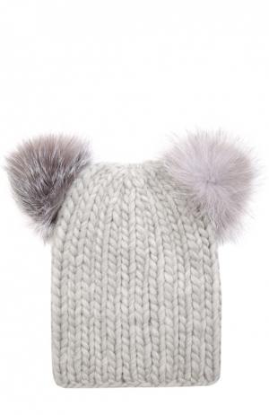 Шерстяная шапка с помпонами из меха песца Eugenia Kim. Цвет: серый