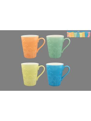 Набор кружек 4 предмета Цветы Elan Gallery. Цвет: оранжевый, желтый, салатовый, голубой