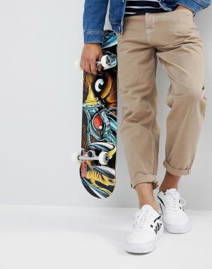 ASOS Расклешенные джинсы песочного цвета с контрастной строчкой. Цвет: светло-бежевый