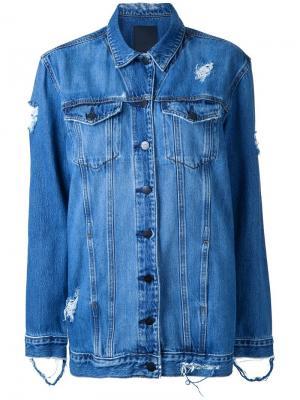 Рваная удлиненная куртка Nobody Denim. Цвет: синий