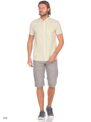 Рубашка MUSTANG. Цвет: серый, белый, желтый