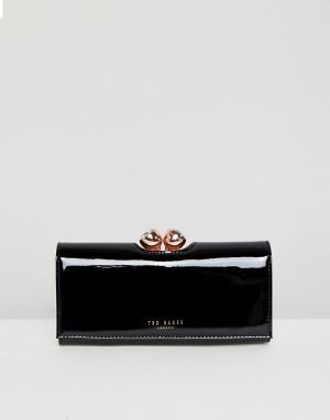 Ted Baker Лакированный кожаный кошелек. Цвет: черный
