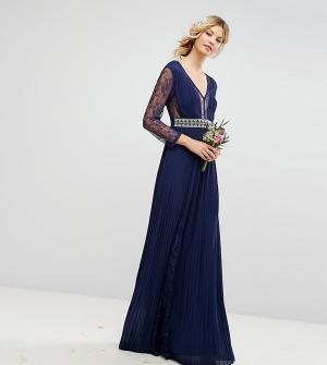 TFNC Tall Плиссированное платье макси с длинными рукавами, кружевными вставками. Цвет: темно-синий