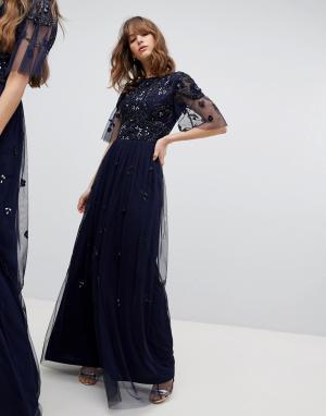Amelia Rose Платье макси с короткими рукавами и отделкой. Цвет: темно-синий