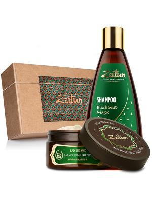 Набор шампунь и маска Магия чёрного тмина для оздоровления волос Зейтун. Цвет: светло-бежевый, бежевый, светло-зеленый