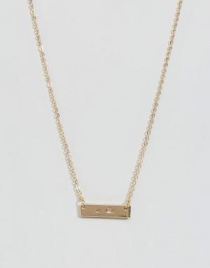 DesignB London Ожерелье с металлической пластиной. Цвет: золотой