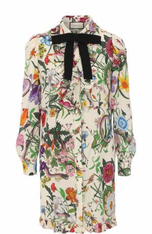 Шелковое мини-платье с принтом и контрастным бантом Gucci. Цвет: разноцветный