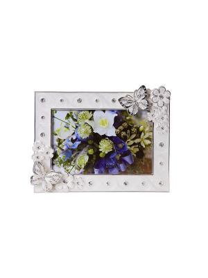 Фоторамка розовая c бабочкой, металлическая со стразами 10х15см PLATINUM quality. Цвет: белый