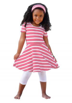 Комплект: платье + повязка на голову легинсы KIDOKI. Цвет: розовый в полоску