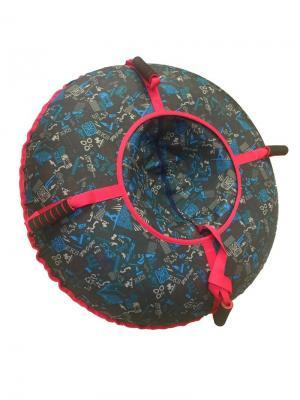 Санки-ватрушка (тюбинг) 100 см Орнамент Техно SPORTREST. Цвет: синий, серо-коричневый, серый, красный