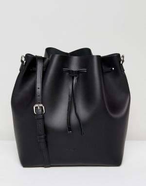 Sandqvist Черная кожаная сумка на плечо с затягивающимся шнурком Maria. Цвет: черный