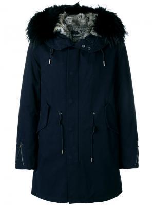 Куртка с меховым капюшоном Yves Salomon. Цвет: синий