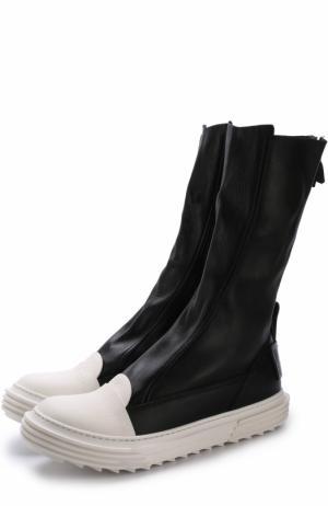 Высокие кожаные кеды без шнуровки на молнии Artselab. Цвет: черный