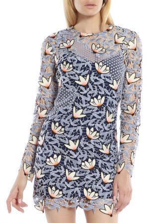 Платье-мини SELF-PORTRAIT. Цвет: серый, принт цветы