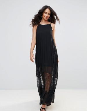 BCBG MaxAzria Полупрозрачное платье макси с кружевной отделкой. Цвет: черный