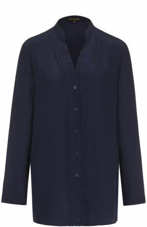 Шелковая блуза с декоративной отделкой Escada. Цвет: темно-синий