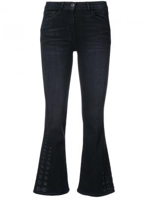 Расклешенные укороченные брюки 3X1. Цвет: чёрный