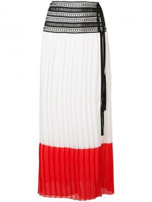 Плиссированная юбка дизайна колор-блок Oscar de la Renta. Цвет: белый
