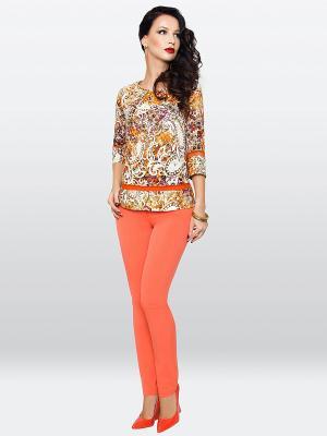Блузка E.Levy. Цвет: оранжевый, молочный