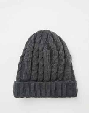 7X Серая шапка-бини с косами. Цвет: серый