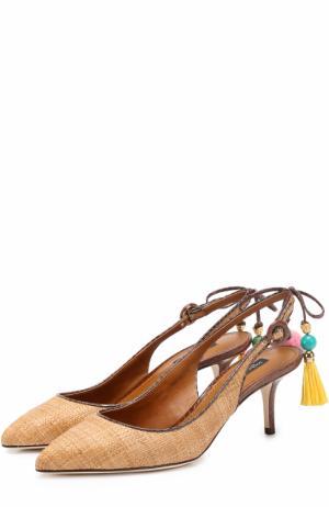 Плетеные туфли Bellucci с подвесками Dolce & Gabbana. Цвет: бежевый