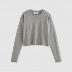 Пуловер короткий, 30% шерсти ENJOYPHOENIX POUR LA REDOUTE. Цвет: серый меланж