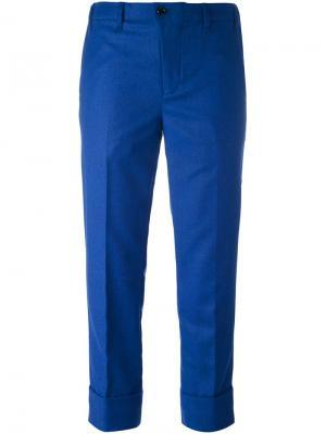 Укороченные брюки Julien David. Цвет: синий
