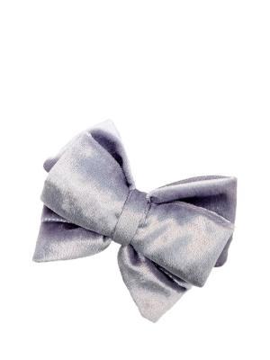 Брошь-зажим Бархатный серо-лавандовый бантик SEANNA. Цвет: серый