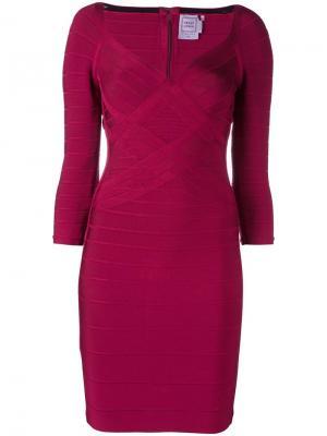 Облегающее платье с тканым эффектом Hervé Léger. Цвет: красный
