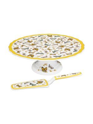Подставка под торт Бабочки с лопаткой Elan Gallery. Цвет: золотистый, белый, желтый