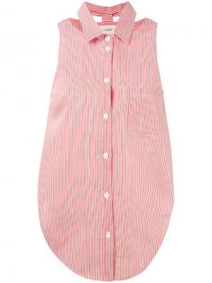 Рубашка в полоску без рукавов Nanushka. Цвет: красный