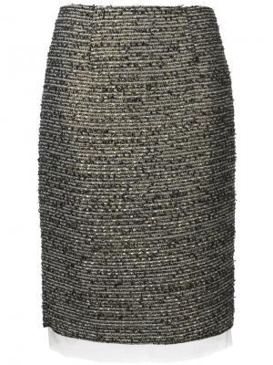 Прямая двухслойная юбка Zambesi. Цвет: многоцветный