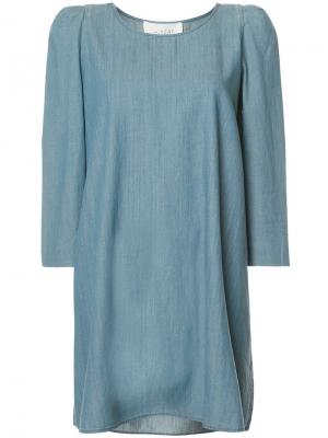 Джинсовое платье шифт The Great. Цвет: синий