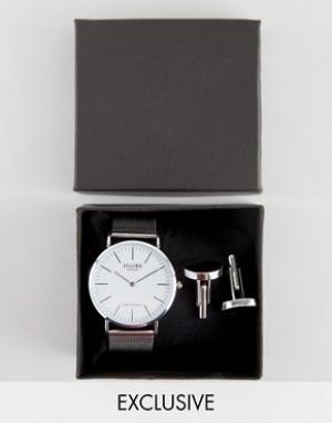 Reclaimed Vintage Подарочный набор с серебристыми часами и запонками I. Цвет: серебряный