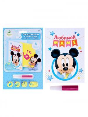 Отпечаток ручки малыша, Микки Маус Disney. Цвет: черный, бирюзовый, голубой, желтый, малиновый, светло-голубой, темно-синий, фуксия
