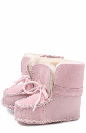 Замшевые пинетки на шнуровке Polo Ralph Lauren. Цвет: розовый