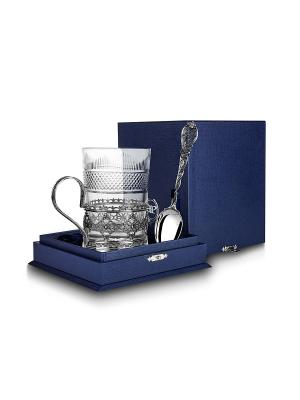 Набор для чая Ажур черненый (3 предмета) пр.925+футляр АргентА. Цвет: серебристый