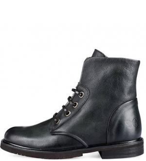 Кожаные ботинки на шнуровке Felmini. Цвет: черный
