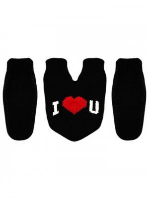 Варежки для влюбленных Knitto.ru. Цвет: черный, красный