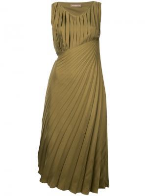 Плиссированное мини-платье Darci Nehera. Цвет: зелёный