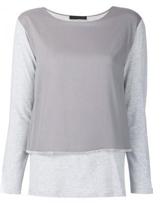Многослойная футболка с длинными рукавами Fabiana Filippi. Цвет: серый
