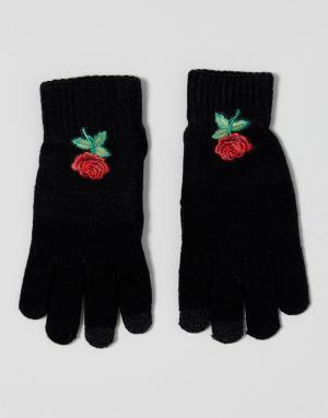 7X Перчатки для сенсорного экрана с цветочной вышивкой. Цвет: черный