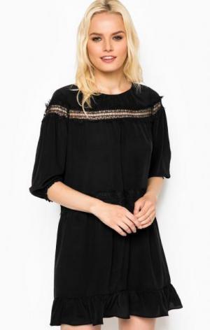 Черное шелковое платье с подкладкой Liu Jo. Цвет: черный