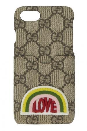 Чехол для iPhone 7 GG Supreme Canvas Gucci. Цвет: серый