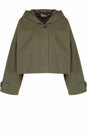 Укороченная куртка свободного кроя с капюшоном T by Alexander Wang. Цвет: хаки