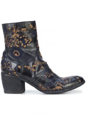 Ботинки с вышивкой Fauzian Jeunesse. Цвет: синий