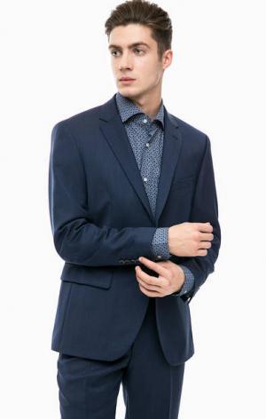Синий классический пиджак из шерсти Pierre Cardin. Цвет: синий