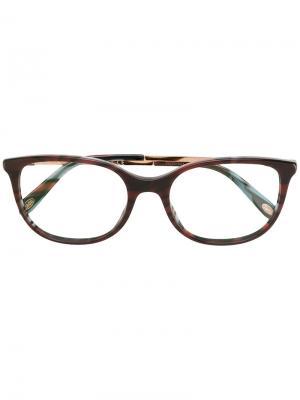 Квадратные очки в полоску Tiffany & Co.. Цвет: коричневый