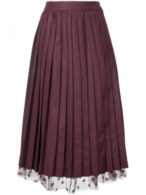 Плиссированная юбка с контрастным нижним слоем Muveil. Цвет: красный