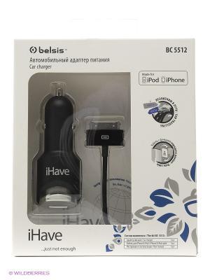 Автомобильное зарядное устройство (адаптер) 12V/5V с кабелем для iPhone/iPod iHave. Цвет: черный